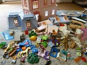 Vintage Playmobil Lot Deluxe Doll House, Airplane , Zoo, Etc. Animals, People
