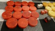 Crisloid Backgammon Bakelite Game Pieces Cherry Red And Butterscotch