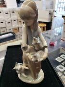 Lladro Following Her Cats Figurine 1309 Girl With Kittens 1977 With Box