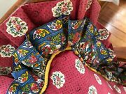 Pierre Deux French Country Pillow Ruffle Red Blue Yellow Avignonet Floral Fabric