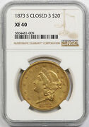 1873-s Closed 3 Liberty Head Double Eagle Gold 20 Xf 40 Ngc