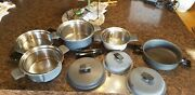 Set Miracle Maid West Bend Anodized Stainless Lined Gem Coat Pots Pans Handles