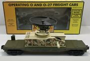 ✅mth Railking Us Army Flat Car Operating Helicopter 30-79077 O Gauge Military