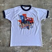 1984 Vintage 80s Willie Nelson Ringer T-shirt Sz M Country Music Dolly Parton
