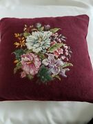 Pettipoint Needlepoint Floral 14 Inch Square Pillow Pre Owned In Nice Condition