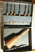 Millers Falls Woodcarving Hand Tools And Mallet 6 Piece Chisel Set With Tool Box