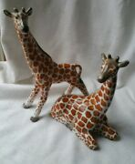 Vintage Figurines Giraff Pair Made In Italy Retro Collectable Mid Century Rare