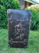 Vintage Travel Large Leather Suitcase For Clothes, Antique, Retro, Old, Rare