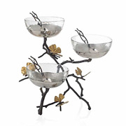 Michael Aram Butterfly Ginkgo Triple Bowl Set With Spoons 3 Bowls On A Wrought