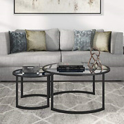 Hennandhart Nested Round Glass Coffee Table 18.5 H X 36 L X 36 W Black