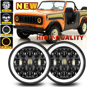 Black Round 7 Inch Led Headlight Halo Drl For International Scout Ii Land Rover