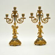 Pair Of Antique French Victorian Gilt Bronze Champlevandeacute Candelabra