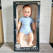 Vintage Gerber Baby Doll 1979 Blue Gingham Rolling Eyes 17 Inches