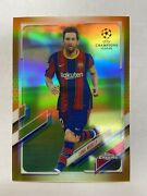 2020-21 Topps Chrome Uefa Champions 1 Lionel Messi Gold Refractor 'd/50