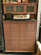 Antique Wooden Dental Cabinet Frosted Glass Doors Marble Base Jewelry Collection