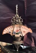 Victorian Brides Basket By James W Tufts Oblong Glass With Hand Painted Flowers