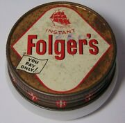 Old Vintage 1950s Folger's Coffee Ship Graphic Sample Tiny Small Jar Milk Glass