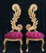 French Fuchsia Baroque Chairs - A Pair. Made To Order