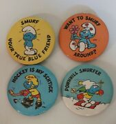 Vintage 1980 Lot Of 4 Smurf Pin Button Pinback Approx 2-1/4 Used