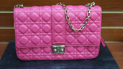 Authentic Christian Dior Lady Dior Hand Bag Pink Quilted Leather Cannage Ladies