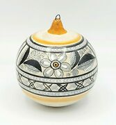 Hand Painted Signed Jimon Mexico Mexican Pottery Christmas Ornament Flowers