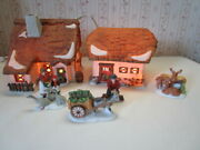 Dept 56 Dickens Village 2-pc Barley Bree Farm House Barn 5-pc People And Animals