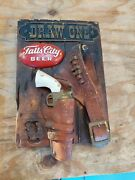 Falls City Beer Vintage Display Advertising Sign Pistol Holster Draw One Rare