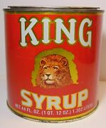 Old Vintage 1970s King Syrup Lion Graphic Advertising Tin Baltimore Maryland Md