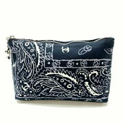 Coco Mark Paisley Cotton Pouch Cosmetic Accessory Case Navy No.7889