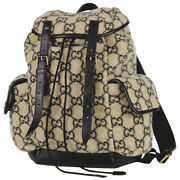 Gg Pattern Backpack Day Pack Fabric Beige Black 598184 No.853