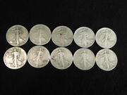 Walking Liberty Half Dollars 1940and039s 10 Coins 1/2 Roll Mixed Dates Mints L3