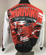 Rare Vtg Warhawk Frontline Combat Notone Fighter Airplane Snap Jacket S All Over