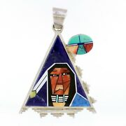 Navajo Bryon Yellowhorse Sterling Silver Channel Inlay Portrait Triangle Pendant
