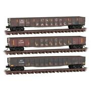 Micro-trains Mtl N Union Pacific 50' Steel Side Gondola Weathered 3-pack 993058