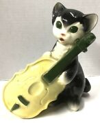 Vintage Royal Copley Black Cat With Yellow Cello Planter Mid-century Fiddle