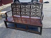 Antique Chinese Chippendale Settee Loveseat Hand Carved Mahogany