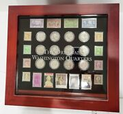 Original Washington Quarters Collection In Display Box W Stamps