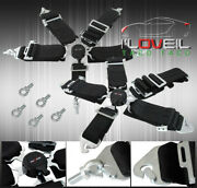 For 3 Single Black 5pt Harness Cam Lock Racing Seat Belts Safety Latch Clip On