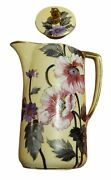 Noritake China Carafe Pitcher Antique Vintage Gold Hand Painted Floral With Lid
