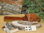 Mini Antique Style Chainsaw Cottonwood Bark Wood Carving Forest Art Logging Tool
