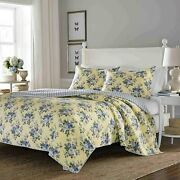 Laura Ashley Linley Yellow W/ Blue Roses 3 Piece Queen Quilt Set French Country