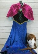 Disney Frozen Princess Anna Womanand039s 8/10 Winter Dress Cape And Wig Cosplay