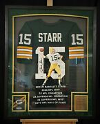 Bart Starr Green Bay Packers Hand Painted Autographed Jersey 1/1 Framed