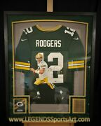 Aaron Rodgers Green Bay Packers Hand Painted Autographed Jersey 1/1 Framed