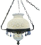 Le Smith Moon And Stars White Carnival Milk Glass Prism Hanging Ceiling Lamp Vtg