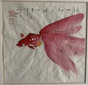 John H Chen Chinese Original Watercolor Of Goldfish On Rice Paper Stamped Jhc