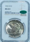 1922 D Ngc Ms65+ Cac Peace Silver Dollar
