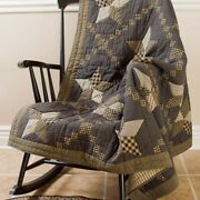 Primitive Farmhouse Star Quilted Cabin Patchwork Throw 60x50 Country Free Ship