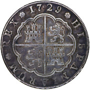 Spain Madrid Philip V 8 Reales 1729 Jj Curved 9 Authentic Scarce Rare