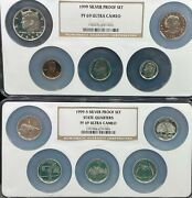 1999-s Silver Proof Set Ngc Multi Coin-holder Pf69 Ultra Cameo W/ Susan B. 080